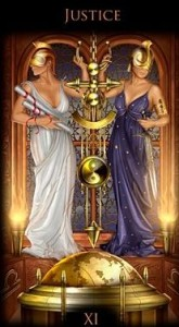 Justice from Ciro Marchetti's Legacy of the Divine Tarot Deck